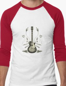 Halftone Guitar and Tribal Graphics Men's Baseball ¾ T-Shirt