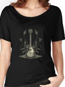 Halftone Guitar and Tribal Graphics Women's Relaxed Fit T-Shirt