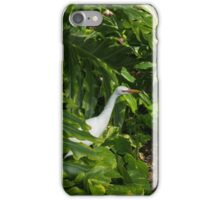 Hawaiian Garden Visitor - a Bright White Egret in the Lush Greenery iPhone Case/Skin