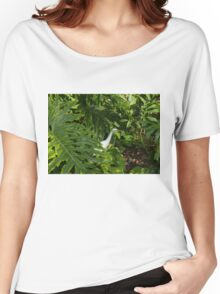 Hawaiian Garden Visitor - a Bright White Egret in the Lush Greenery Women's Relaxed Fit T-Shirt