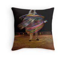 Circus Pages- Raikka does 75 hula-hoops  Throw Pillow