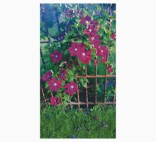Purple Flowers on a Wrought Iron Fence One Piece - Short Sleeve