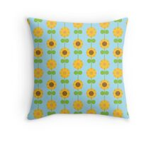 Kawaii Sunflowers Throw Pillow