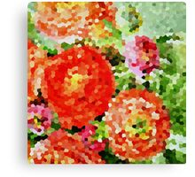 Abstract Red and Pink Flowers Canvas Print