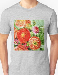 Abstract Red and Pink Flowers Unisex T-Shirt