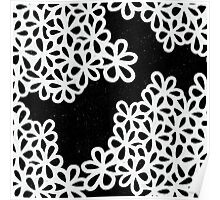 Black and White Flower Petals Poster
