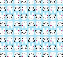 Super Cute Kawaii Bunny and Panda by Marceline Smith