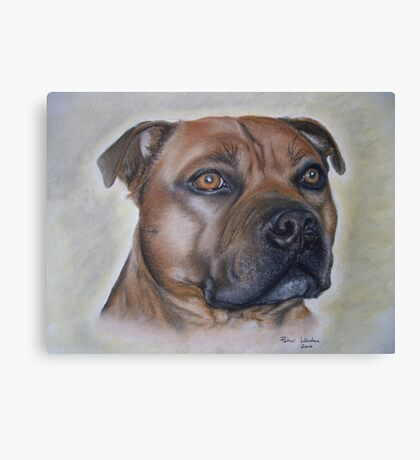 Staffordshire Bull Terrier in Pastel Canvas Print