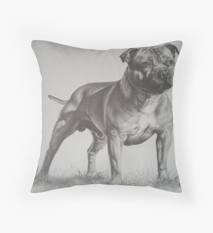 Staffordshire Bull Terrier in Pencil Throw Pillow