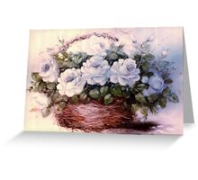 White Roses in Willow Basket Greeting Card