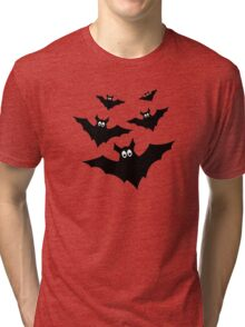 Cool cute Black Flying bats Halloween on Orange Tri-blend T-Shirt