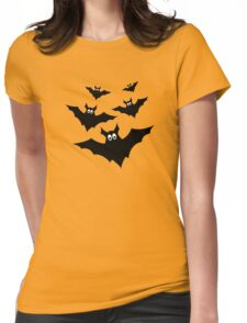 Cool cute Black Flying bats Halloween on Orange Womens Fitted T-Shirt