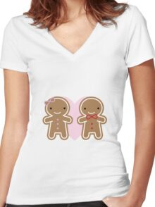 Cookie Cute Gingerbread Couple Women's Fitted V-Neck T-Shirt