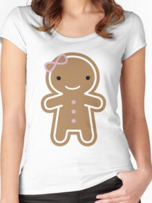 Cookie Cute Gingerbread Girl Women's Fitted Scoop T-Shirt