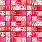 Faux Patchwork Quilting - Pink and Red by Gravityx9