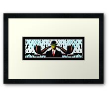 Ear Smoking Apple Guy Standing in the Man Rain Framed Print