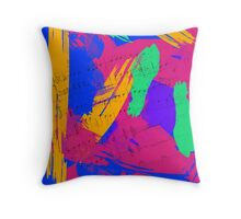 Wild Paint Brush Colors and Music Sheets Throw Pillow