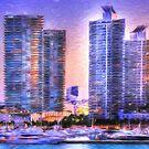 Miami Skyline Sunrise by Shelley Neff