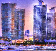 Miami Skyline Sunrise by Shelley Neff