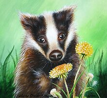 Badger in the Dandelions by Louise Elisabeth Hunt