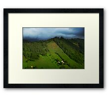 Lonely houses in mountains, Romania, Transylvania Region Framed Print