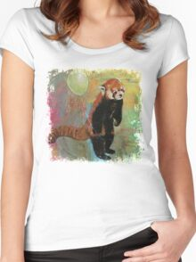 Red Panda Balloon Women's Fitted Scoop T-Shirt