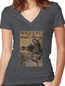 Wild Life in the Woods and Streams Women's Fitted V-Neck T-Shirt