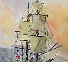 Hms Endeavour by GEORGE SANDERSON
