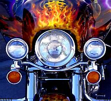 Motorcycle Art with Skull Pistols and Flames by James Formo