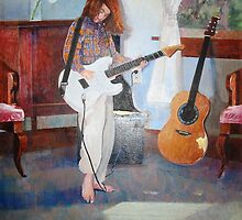 Girl Playing Guitar in a Room by Celeste Schor