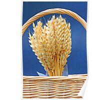 Dried wheat in wicker basket Poster
