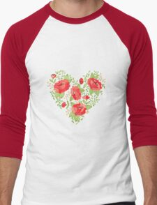 Rose Heart watercolor Men's Baseball ¾ T-Shirt