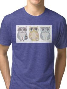 Raccoon, Cat, Dog Blue Tri-blend T-Shirt