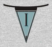 Manhattan 1920s Deco Blues Banner… Monogram letter initial i Kids Clothes