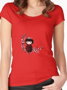 Cherry Blossom Geisha Women's Fitted Scoop T-Shirt