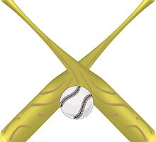 crossed baseball bats and ball illustration  by Funattic