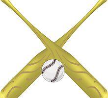 crossed baseball bats and ball illustration  by Funattic