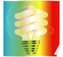 Energy saving light bulb illustration on colorful background  Poster