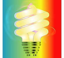Energy saving light bulb illustration on colorful background  Photographic Print