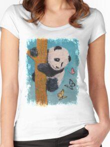 Panda Butterflies Women's Fitted Scoop T-Shirt