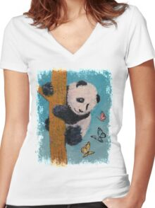 Panda Butterflies Women's Fitted V-Neck T-Shirt