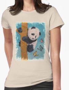 Panda Butterflies Womens Fitted T-Shirt