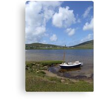 Single docked sailing boat on calm lake in Achill  Canvas Print