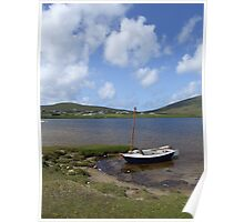 Single docked sailing boat on calm lake in Achill  Poster