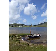 Single docked sailing boat on calm lake in Achill  Photographic Print