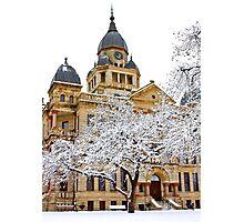 Denton County Courthouse Snow Day Photographic Print