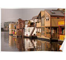 Houseboats at Fisherman's Wharf, Victoria, British Columbia Poster