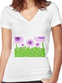 Green Shoots Women's Fitted V-Neck T-Shirt