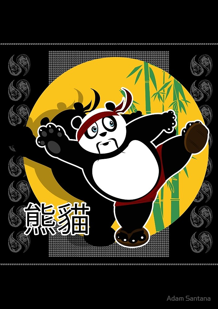 Martial Arts Panda - Black by Adamzworld