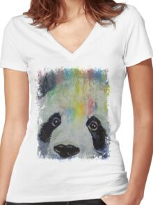 Panda Rainbow Women's Fitted V-Neck T-Shirt
